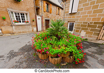 Flowerbed on a Street of the French City
