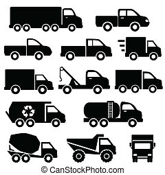 Trucks icon set - Truck icon set in black