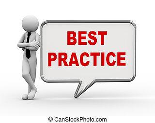 3d businessman with speech bubble - best practice - 3d...