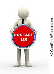 3d businessman holding contact us button - 3d Illustration...