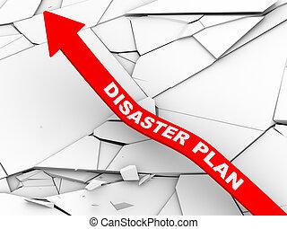 3d disaster plan rising arrow - 3d illustration of rising...