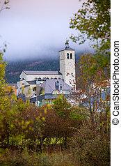 Biescas village in Huesca Aragon Pyrenees of Spain