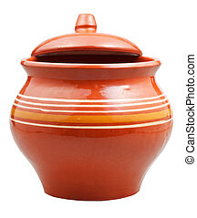earthenware pot with slightly open lid
