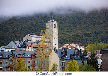 Biescas village in Huesca Aragon Pyrenees of Spain in foggy...