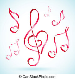 musical note ribbons - Vector illustration of musical note...