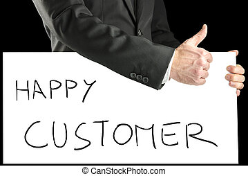 Businessman with sign - Happy customer - Businessman with a...