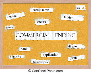 Commercial Lending Corkboard Word Concept with great terms...