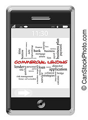 Commercial Lending Word Cloud Concept on Touchscreen Phone -...