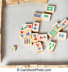 top view of mahjong desk game - top view of playing field of...