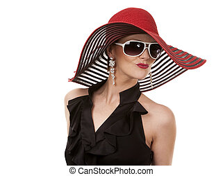 woman in red hat - woman wearing large hat on white isolated...