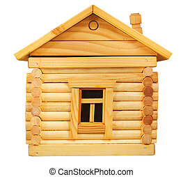 side exterior of wooden log house - side exterior of model...