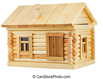 exterior of wooden log house - model of simple village...