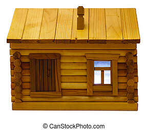 front view of wooden log house in evening