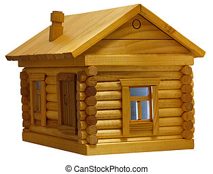 exterior of wooden log house in evening - model of village...