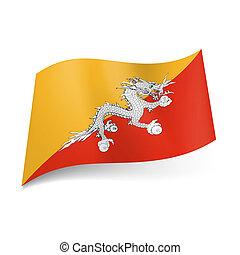 State flag of Bhutan - National flag of Bhutan: white Asian...
