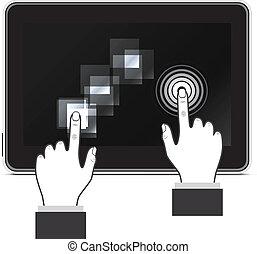Man hand touching screen