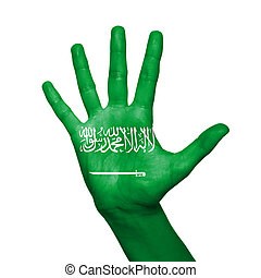 Saudi Arabia flag painted on hand over white background