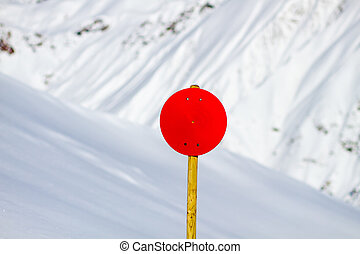 Red Sign with Snowy Background