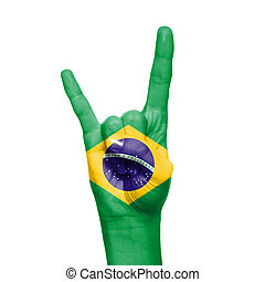 Brazil flag painted on hand over white background
