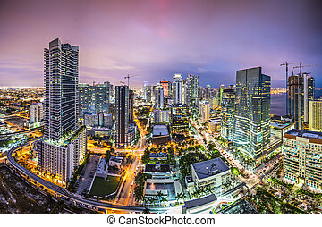 Miami Florida Skyline - Miami, Florida aerial view of...