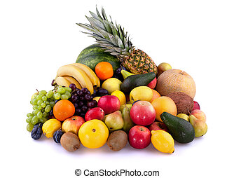 Fruits - Collection of different fruits isolated on white...