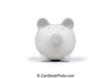 moneybox - white pig money box isolated