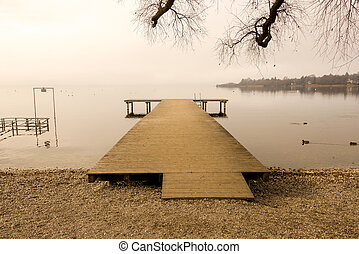 Wooden Dock front View during Winte - Wooden Dock by the...