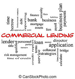 Commercial Lending Word Cloud Concept in red caps