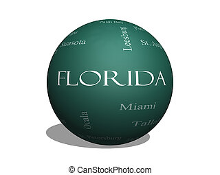Florida State Word Cloud Concept on a 3D sphere Blackboard...