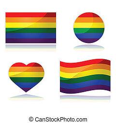 Rainbow flag set - Set with the rainbow flag of the LGBT...