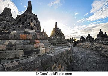 Buddist temple biggest heritage Borobudur complex in...