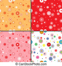 Four seamless vector patterns with daisy flowers - Four...