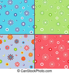 Four seamless vector patterns with