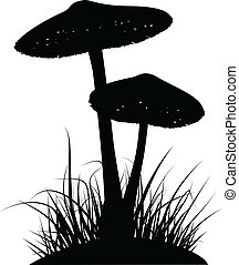 Mushrooms - Silhouettes of two poisonous mushrooms in the...