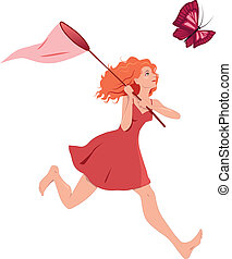 Girl chasing butterfly - Young redhead woman in a red dress...