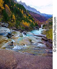 Gradas de Soaso in Arazas river Ordesa valley Pyrenees...