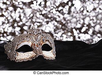Carnival mask - Silver carnival mask on bokeh background
