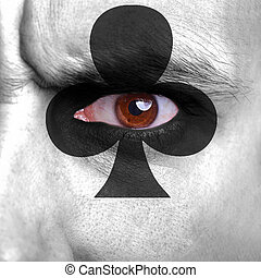 Card background - Cards symbol painted on human face -...