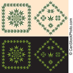 Pot Leaf Borders & Icons - A set of decorative borders and...