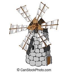 Windmill - Illustration of a Windmill. vector clip art