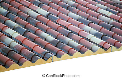 Prefabricated roof polyurethane foam isolated on white