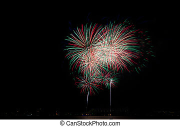 Fireworks cluster - Cluster of colorful Fourth of July...