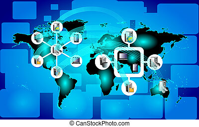 Concept of Global Connectivity on blue background and...