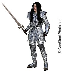 Elf Warrior - Standing - Elf warrior in decorated armour...