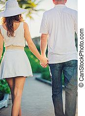 feliz, pareja, amor