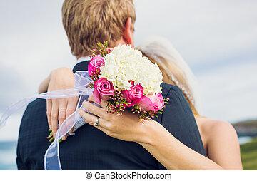 Wedding, Detail of beautiful flower bouquet, shallow depth...