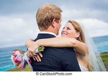 Wedding Couple, Happy romantic bride and groom, shallow...