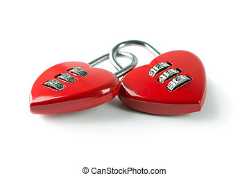 Love binding - Two red heart shape combination padlock...