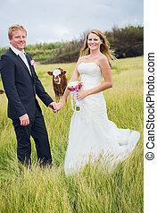 Wedding - Country Wedding, Happy Bride and Groom with Cow