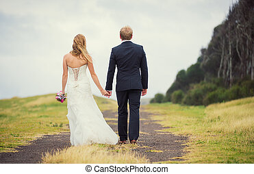 Wedding Couple in the Countryside, Happy Romantic Bride and...